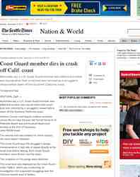 Coast Guard member dies in crash off Calif: Seattle Times
